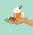 cup cacao or coffee with chocolate and whipped vector image vector image