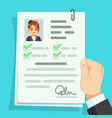 cv document qualification personal documentation vector image