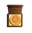 delivery of the most delicious pizza in the world vector image vector image