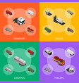 different types trailers 3d banner set isometric vector image vector image