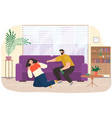 drunk man scolding his wife while drinking booze vector image vector image