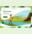 fisherman on river with rod vector image vector image