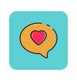 flat color love chat icon vector image vector image