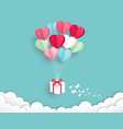 gift box with balloon on sky paper cut style vector image vector image