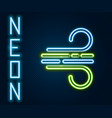 glowing neon line wind icon isolated on black vector image vector image