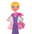 happy blond woman on shopping vector image vector image