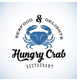 Hungry Crab Restaurant Abstract Retro Logo vector image vector image