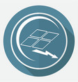 icon solar panel on white circle with a long vector image