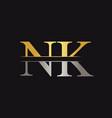 initial monogram letter nk logo design template vector image vector image