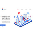 isometric smart city website vector image vector image
