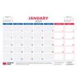 january 2019 calendar planner stationery design vector image