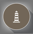 lighthouse sign white icon vector image vector image