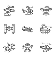Military drones simple line icons vector image