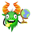 monster with globe on white background vector image