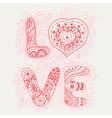 Original hand drawn word love Romantic floral vector image