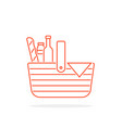 red thin line basket icon for picnic vector image