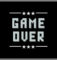 retro pixel game over sign with stars on black vector image vector image