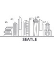seattle architecture line skyline vector image