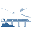 Silhouette of monorail in the mountains vector image