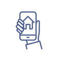 smart home control app on phone screen in hand vector image vector image