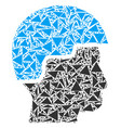 soldier helmet collage of triangles vector image vector image