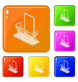 stylish balcony icons set color vector image vector image