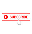 subscribe button with mouse pointer vector image