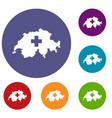 switzerland map icons set vector image vector image
