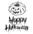 The pumpkin with text -Happy Halloween vector image vector image