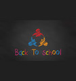three students in chalk black board back vector image vector image