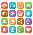 Trendy flat social network icon set vector image vector image