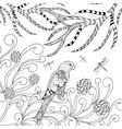 Tropical parrot in flower garden vector image vector image