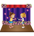 Two kids at the center of the stage vector image vector image