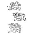 Vintage healdic lions set vector image vector image