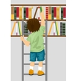 young boy taking book from shelf in library vector image vector image