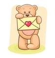 Teddy Bear holding envelope vector image