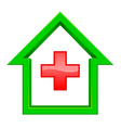 green house with a red cross inside vector image