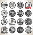 anniversary retro badges 30 years vector image vector image
