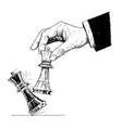 artistic drawing of hand holding chess king and vector image vector image