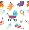 baby newborn kid and pram perambulator pattern vector image vector image