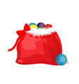 bag with gifts and balls for the new year vector image
