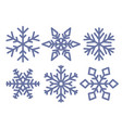blue snowflakes isolated on white background vector image