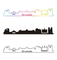 Brussels skyline linear style with rainbow vector image vector image