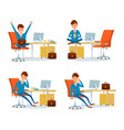 businessman relaxing by drinking tea by table vector image vector image