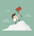 businessman standing with red flag on mountain vector image vector image
