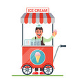 cart on wheels with ice cream cheerful seller vector image vector image