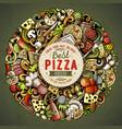 cartoon doodles pizza vector image vector image