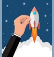 cartoon rocket in businessman hand vector image vector image