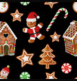 christmas seamless background with gingerbread vector image vector image