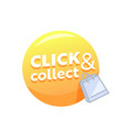 click and collect yellow bubble with shopping bag vector image vector image